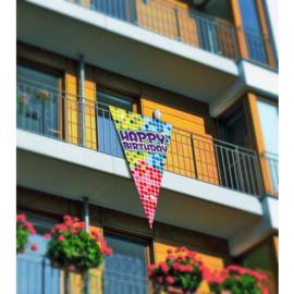 Grote puntvlag  Happy Birthday -  90 x 150 cm (60700F)