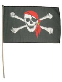 Piratenvlag met stokje -  45 x 30 cm (44927P)