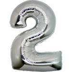 Folie Cijfer 2 - 66 cm Zilver