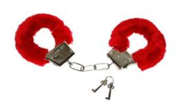 Handboeien rode pluche (60335E)