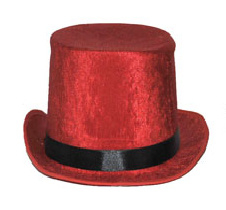 Hoge hoed Rood  - hoofdmaat 60 (63124A)