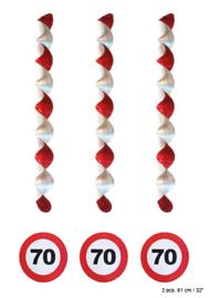 Spiraal Hangdecoratie 70 jaar Verkeersbord - 3 stuks (84940E)