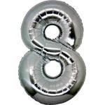 Folie Cijfer 8 - 66 cm Zilver