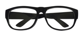 Bril Schooljuf zwart - blank glas (60015E)