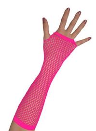 Nethandschoenen lang vingerloos Neon Roze (80062E)