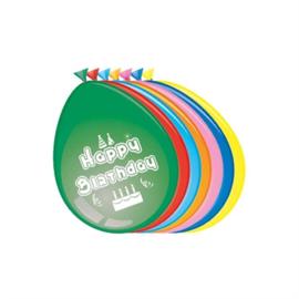 Ballonnen Happy Birthday (30cm, 8 stuks)