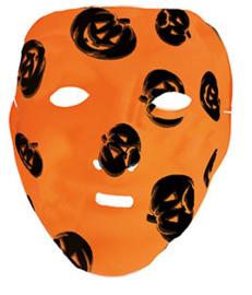 Oranje masker met zwarte pompoenen (61280bE)