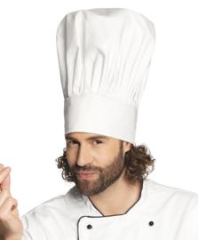 Witte koksmuts Volwassene chef de luxe (01404B)