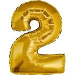 Folie Cijfer 2 - 66 cm Goud