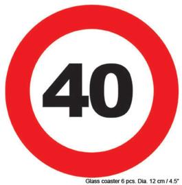 Onderzetters verkeersbord 40 jaar (84419E)