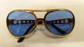 Elvis bril Goud - blauwe glazen Luxe (3000MG)