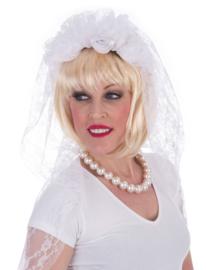 Diadeem bridal veil / bruidssluier wit (53863E)