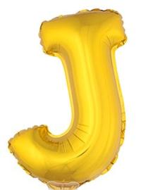 Folie Letter J - 41 cm Goud (met stokje)