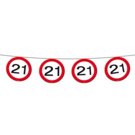 Vlaggenlijn 21 jaar Verkeersbord - 12  meter (05170F)