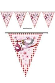 Vlaggenlijn Geboorte Meisje - 10 meter (09257F)
