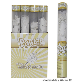 Doorzichtige confetti shooter wit 40 cm (white-66333E)