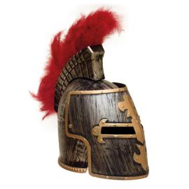 Helm ridder zilverkleurig met veren (52315E)