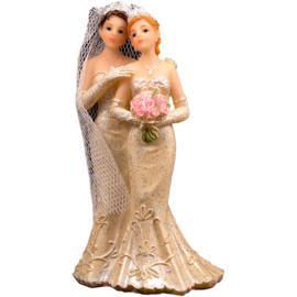 Trouwfiguurtje / bruidspaar vrouw en vrouw (21258F)