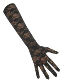 Handschoenen kant - lang Zwart (12108P)