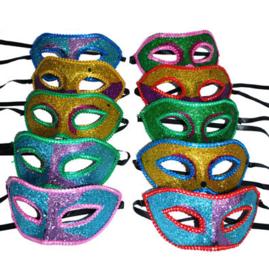Halfmasker Glitter met versiering (61576E)
