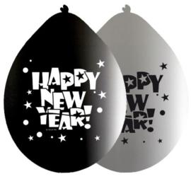 Ballonnen Happy New Year - 8 stuks (20416F)