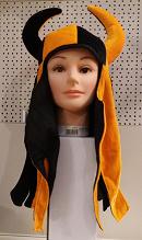 Stoffen vikinghelm oranje-zwart (9001GF)