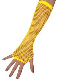 Nethandschoenen lang vingerloos Neon Geel (80062E)