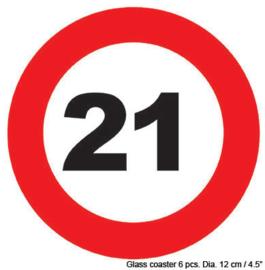 Onderzetters verkeersbord 21 jaar (84417E)