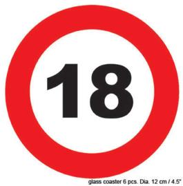 Onderzetters verkeersbord 18 jaar (84416E)