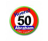 Button 50 jaar verkeersbord Abraham