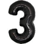 Folie Cijfer 3 - 100 cm Zwart