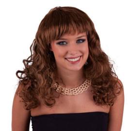 Pruik Natural Curly Bruin (57494E)