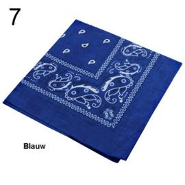 Bandana / boerenzakdoek Blauw (100% katoen - 007)
