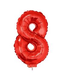 Folie Cijfer 8 - 41 cm Rood incl. stokje (85042E)