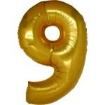 Folie Cijfer 9 - 100 cm Goud