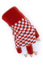 Handschoenen vingerloos brabants bont rood/wit geblokt (10831P)