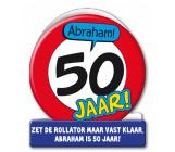 Wenskaart 50 jaar verkeersbord ABRAHAM