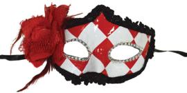 Halfmasker Rood/Wit met bloem (61833E)