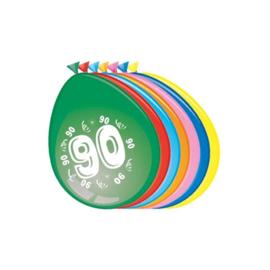 Ballonnen 90 jaar (30cm, 8 stuks)