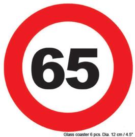Onderzetters verkeersbord 65 jaar (84422E)