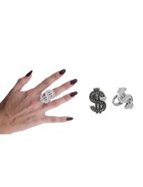 Dollar pimp ring zilver - 2 stuks (53813E)