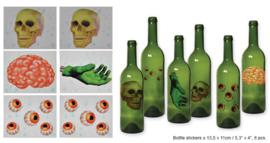 Halloween fles stickers 8 stuks (74526E)