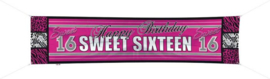 Banner / spandoek Sweet sixteen -  180 x 40 cm (61180F)