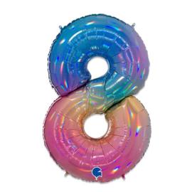 Folie Cijfer 8 - 100 cm Regenboog
