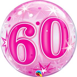 Bubble 60 jaar - Pink Starburst Sparkle  (43127Q)
