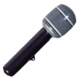 Microfoon opblaasbaar zwart - 30 cm (21592F)