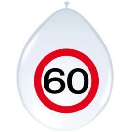Ballonnen 60 jaar verkeersbord (30cm, 8 stuks)