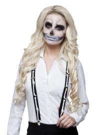 Bretel Skeleton Zwart Wit - 2,5 cm breed (72071B)