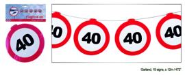 Vlaggenlijn 40 jaar Verkeersbord - 12  meter (84970E)