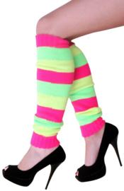 Beenwarmers neon roze/geel/groen gestreept (13246P)